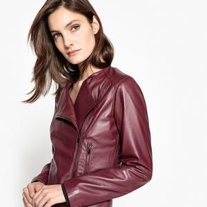 Куртка кожаная в байкерском стиле La Redoute Collections. Цвет: бордовый