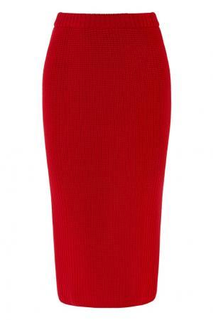 Вязаная красная юбка-миди Alexandr Rogov. Цвет: красный