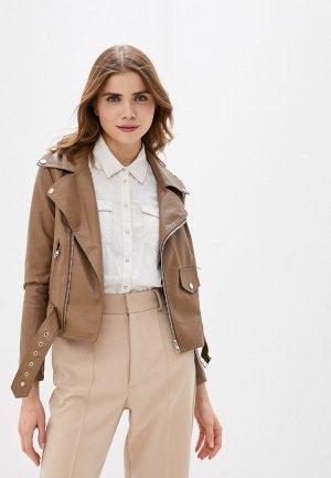 Куртка кожаная Lusio. Цвет: коричневый