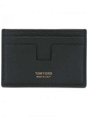 Футляр для карт из зернистой кожи Tom Ford. Цвет: чёрный