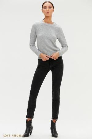 Черные укороченные джинсы с молниями LOVE REPUBLIC