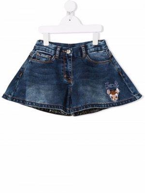 Расклешенные джинсовые шорты с вышивкой Monnalisa. Цвет: синий
