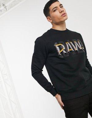 Черный свитшот с принтом raw и точкой -Черный цвет G-Star