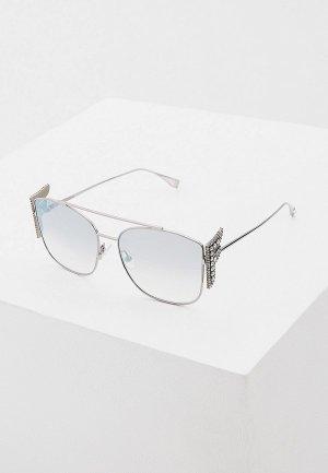 Очки солнцезащитные Fendi FF 0380/G/S 6LB. Цвет: серебряный