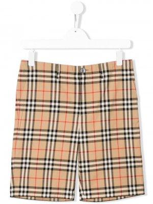 Клетчатые шорты Tristen свободного кроя Burberry Kids. Цвет: нейтральные цвета