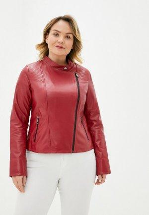 Куртка кожаная Le Monique. Цвет: красный