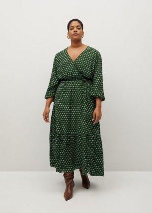 Миди-платье с геометрическим принтом - Madrid Mango. Цвет: зеленый