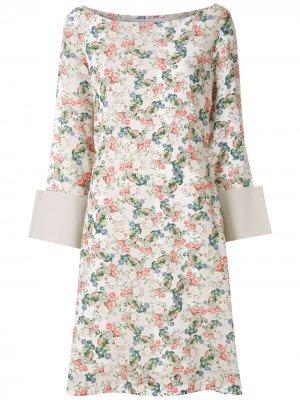 Платье с цветочным принтом Gloria Coelho. Цвет: нейтральные цвета