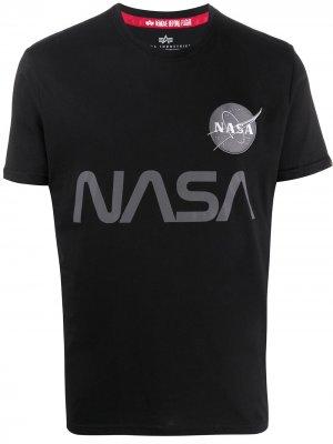 Футболка со светоотражающим принтом NASA Alpha Industries. Цвет: черный