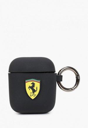 Чехол для наушников Ferrari Airpods, Silicone case with ring Black. Цвет: черный