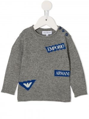 Джемпер с логотипом Emporio Armani Kids. Цвет: серый