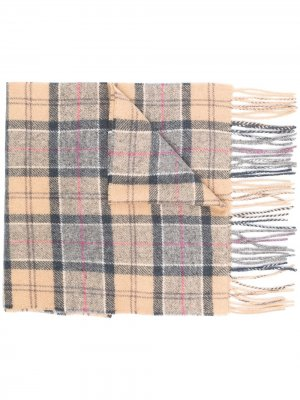 Клетчатый шарф с бахромой Barbour. Цвет: коричневый
