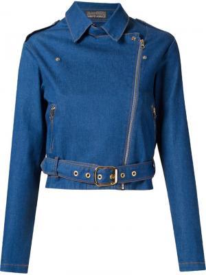 Укороченная джинсовая байкерская куртка Amapô. Цвет: синий