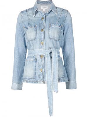 Джинсовая куртка с поясом Frame Denim. Цвет: синий