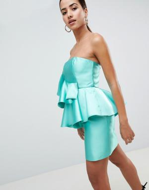 Коктейльное платье мини с оборкой -Мульти ASOS DESIGN
