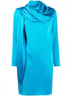 Платье-трапеция с шарфом Gianluca Capannolo. Цвет: синий