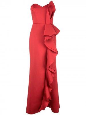 Платье без бретелей с оборками Badgley Mischka. Цвет: красный