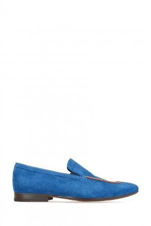 Замшевые лоферы с кожаным декором Alberto Guardiani. Цвет: синий