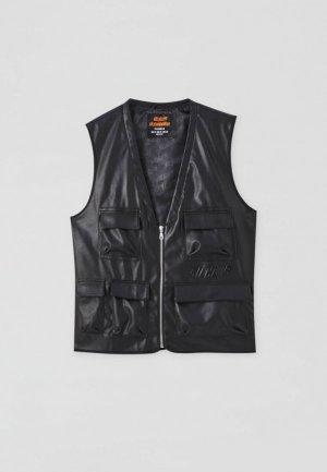Жилет кожаный Pull&Bear. Цвет: черный