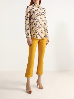 Расклешенные брюки TWINSET MILANO. Цвет: zheltyy