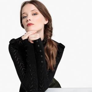 Пуловер ажурный с воланом LA REDOUTE COLLECTIONS. Цвет: розовый,темно-зеленый