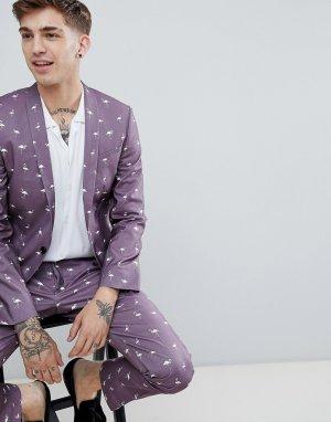 Пиджак супероблегающего кроя с принтом фламинго -Фиолетовый Noose & Monkey