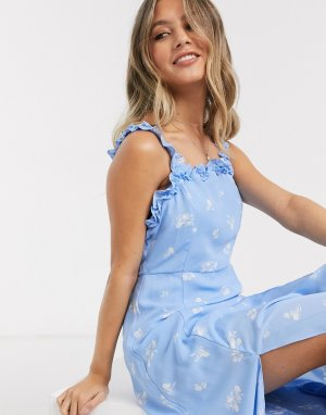 Голубое платье миди с оборками и цветочным принтом -Синий Gilli