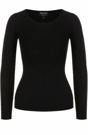 Облегающий пуловер с круглым вырезом Giorgio Armani. Цвет: черный