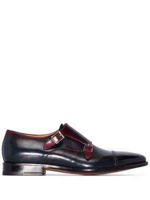 Туфли монки с пряжками Santoni. Цвет: коричневый