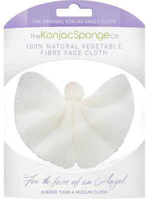 Салфетка Конняку для умывания Ангел Premium (натуральная) The Konjac Sponge Company. Цвет: белый