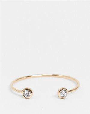 Золотистый браслет-кафф с кристаллами -Золотой ASOS DESIGN