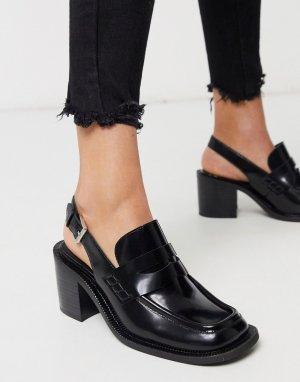 Черные лоферы на каблуке с ремешком пятке -Черный Jeffrey Campbell