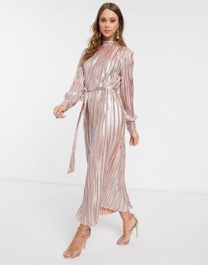 Золотистое платье макси -Розовый цвет Forever U