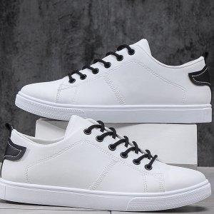 Мужская минималистичная обувь для коньков на шнурке SHEIN. Цвет: белый