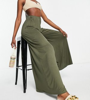 Трикотажные пляжные брюки-палаццо цвета хаки ASOS DESIGN Tall-Зеленый цвет Tall