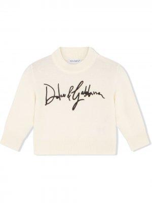 Джемпер с вышитым логотипом Dolce & Gabbana Kids. Цвет: нейтральные цвета