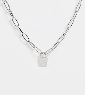 Ожерелье с подвеской-замком -Серебряный DesignB London