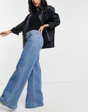 Голубые выбеленные джинсы в стиле 70-х с классической талией и широкими штанинами Evytte-Белый J Brand