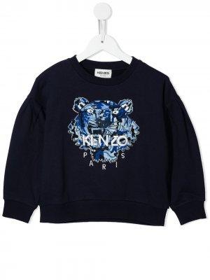 Толстовка с вышитым логотипом Kenzo Kids. Цвет: синий