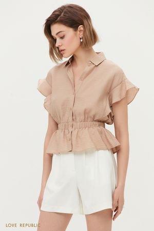 Блузка с воланами из жатого материала LOVE REPUBLIC