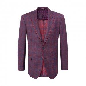 Пиджак из смеси шерсти и шелка Zilli. Цвет: бордовый