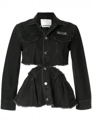 Джинсовая куртка с вырезными деталями Ground Zero. Цвет: черный