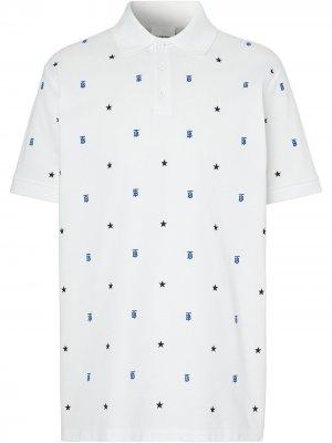 Рубашка поло с вышивкой Burberry. Цвет: белый