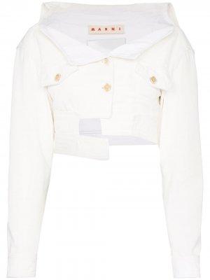 Укороченная джинсовая куртка асимметричного кроя Marni. Цвет: белый