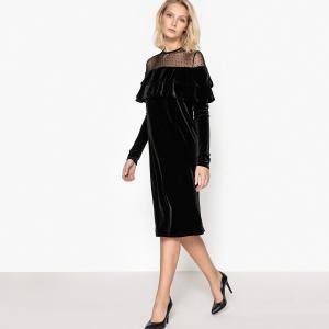 399c72ddaac Платье из велюра с воланом LA REDOUTE COLLECTIONS. Цвет  черный