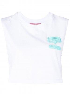 Укороченная футболка с нашивкой Chiara Ferragni. Цвет: белый