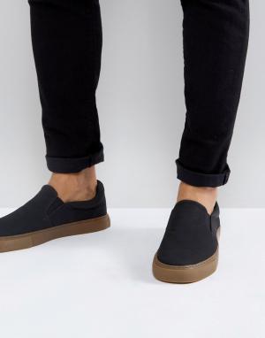 Черные кеды-слипоны на каучуковой подошве -Черный цвет ASOS DESIGN
