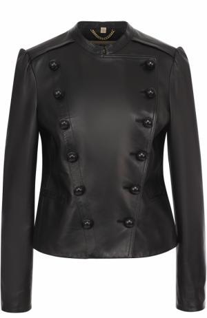 Приталенная кожаная куртка с рукавом-фонарик Burberry. Цвет: черный