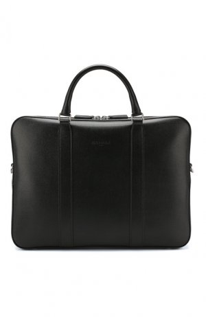 Кожаная сумка для ноутбука с плечевым ремнем Canali. Цвет: чёрный