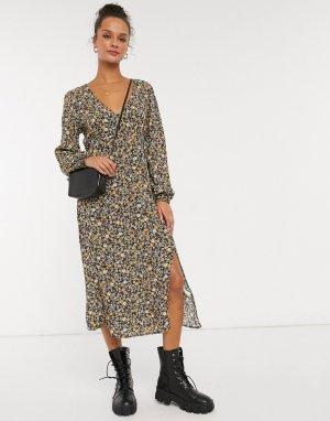 Платье миди с длинными рукавами и цветочным принтом -Мульти Cotton:On